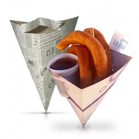 Cucurucho de cartón para churros, vaso y servilleta